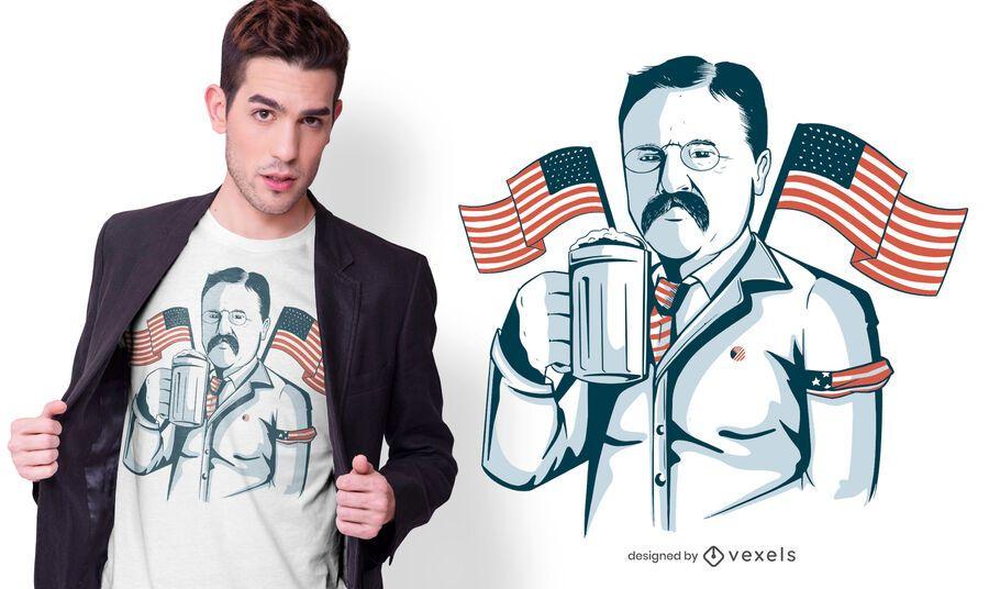 Diseño de camiseta de cerveza Roosevelt
