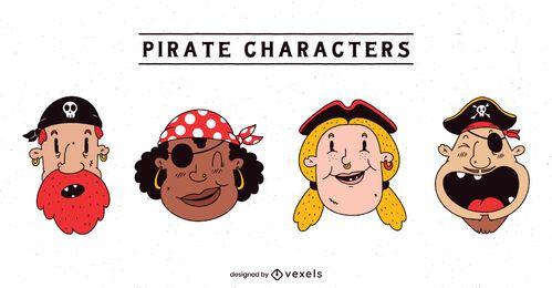 Conjunto de personajes piratas