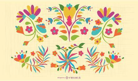 Conjunto colorido de flores otomíes