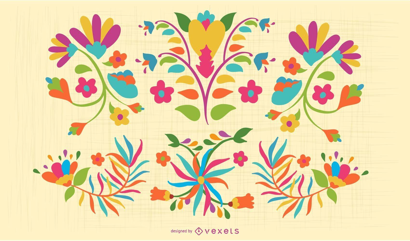 Conjunto colorido de flores otom?es