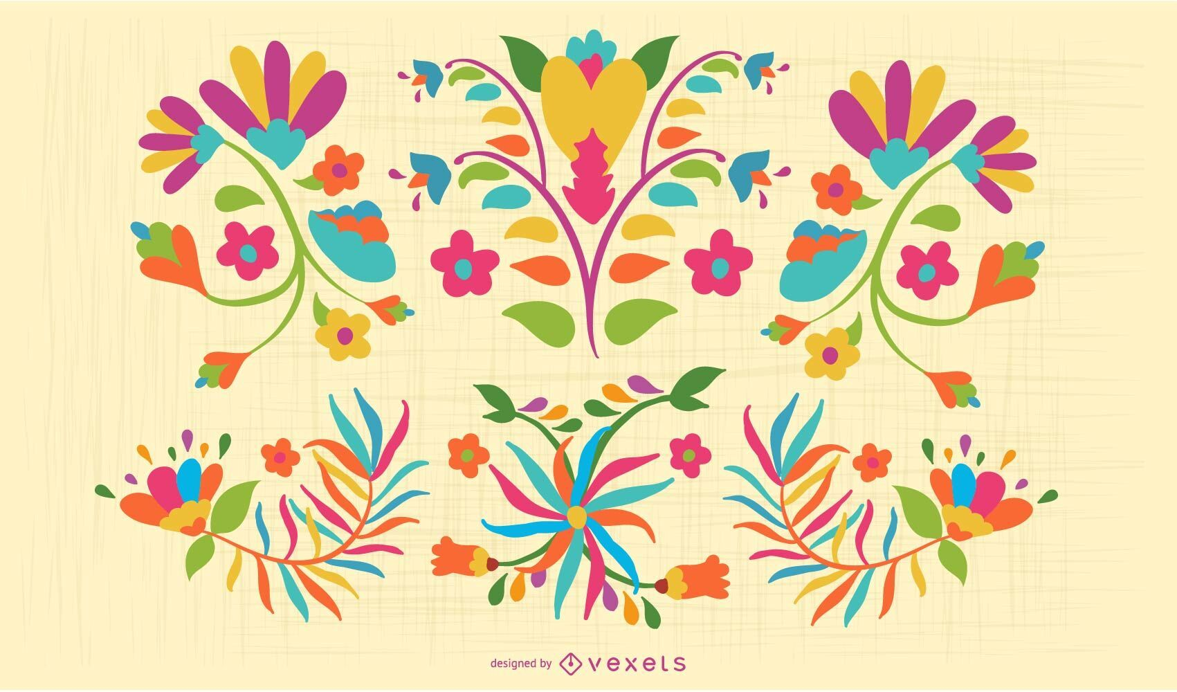Otomi flowers colorful set