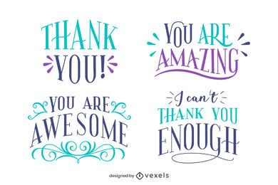 Thank you letterings set