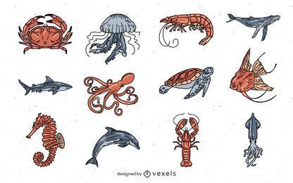 Pacote de ilustrações coloridas de animais marinhos