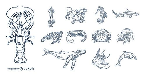 Ozean Tiere Schlaganfall Illustration Pack