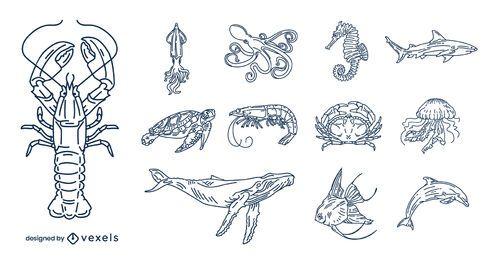Paquete de ilustración de trazo de animales del océano