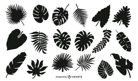 Pacote de silhueta de folhas tropicais