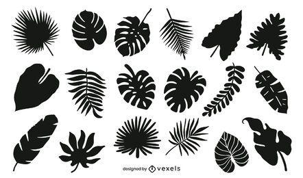 Pacote de silhuetas de folhas tropicais