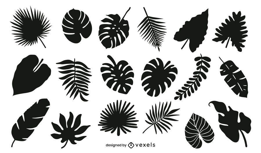Paquete de silueta de hojas tropicales