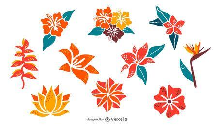 Paquete de ilustraciones de flores de colores tropicales