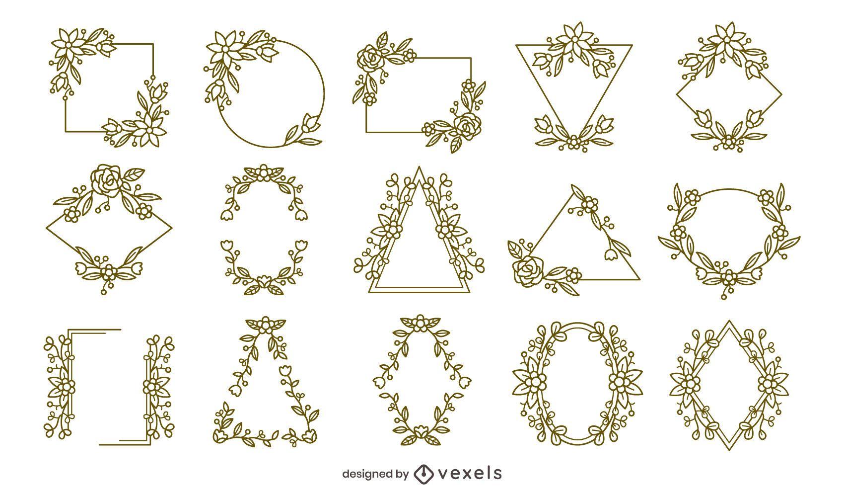 Floral frames stroke collection