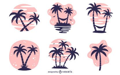 palm tree illustration set
