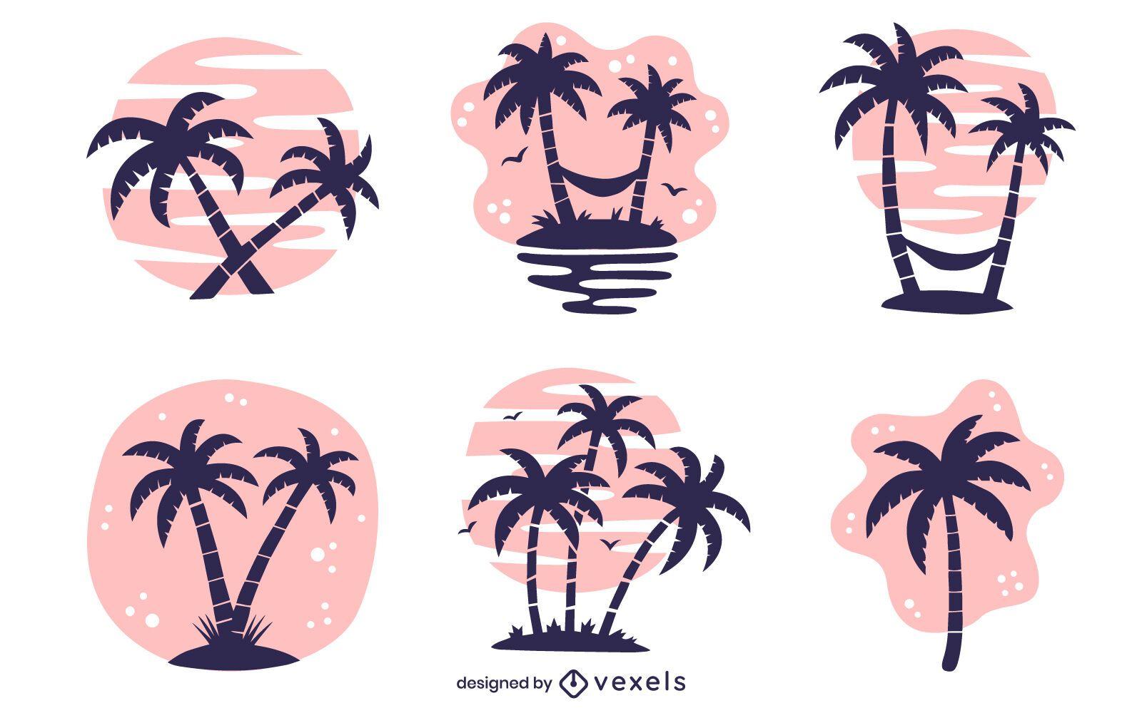 palm tree illustration set