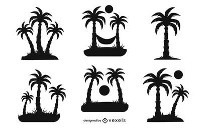 palm tree silhouette set