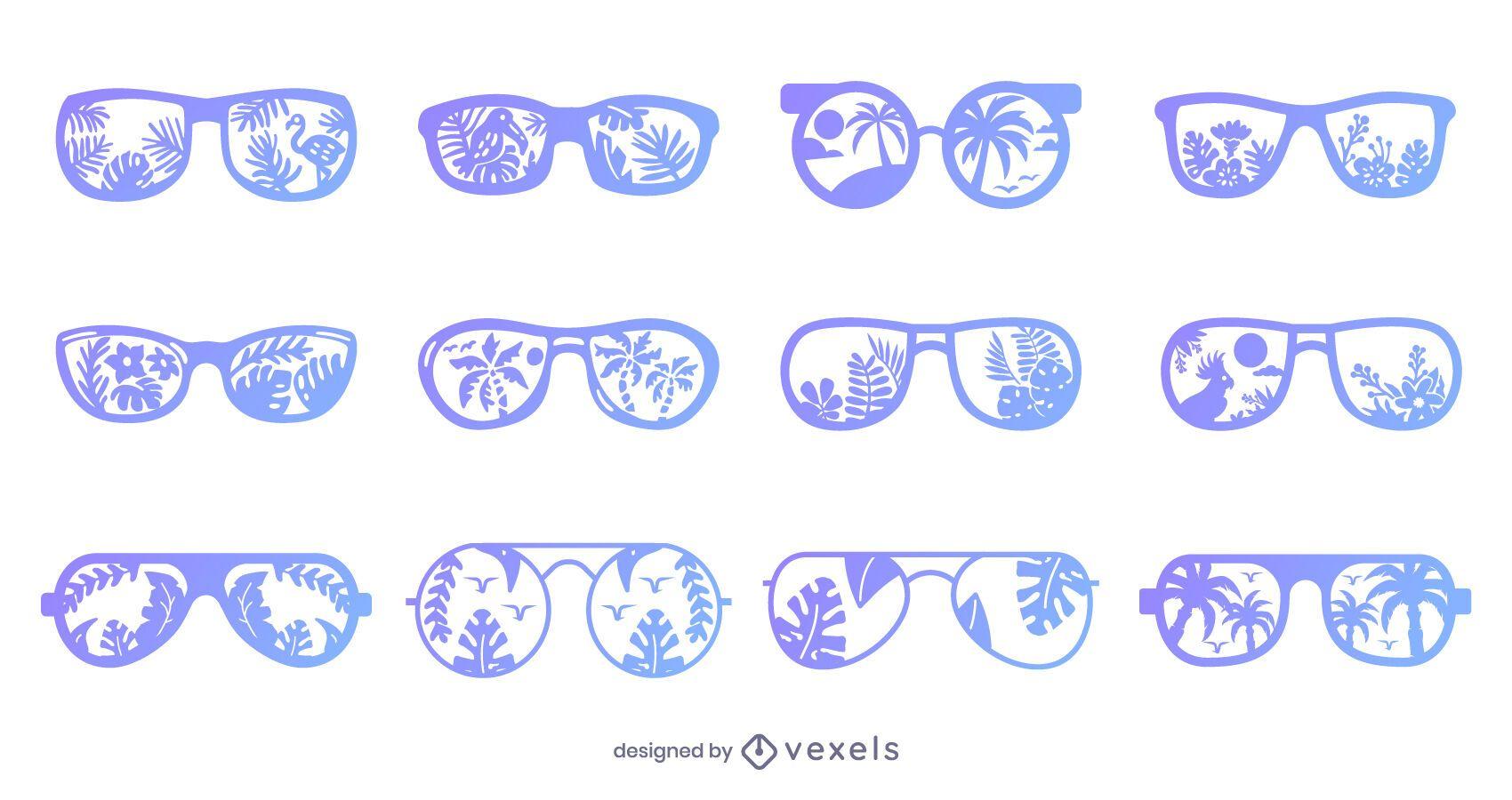 Pacote de design de óculos de sol tropicais