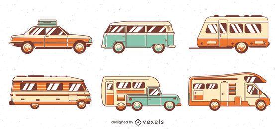 Paquete de vehículos de viaje por carretera vintage