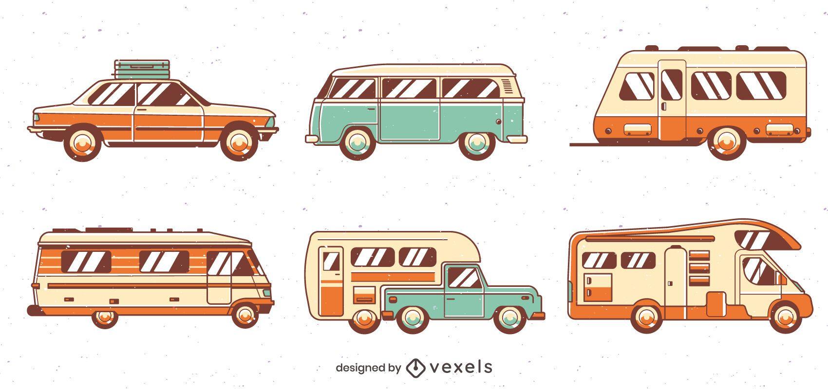 Pacote de veículos para viagens rodoviárias vintage