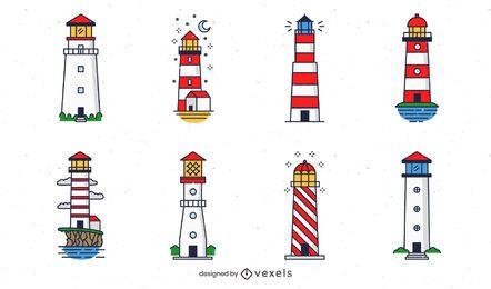 Farbiges Leuchtturm-Designpaket