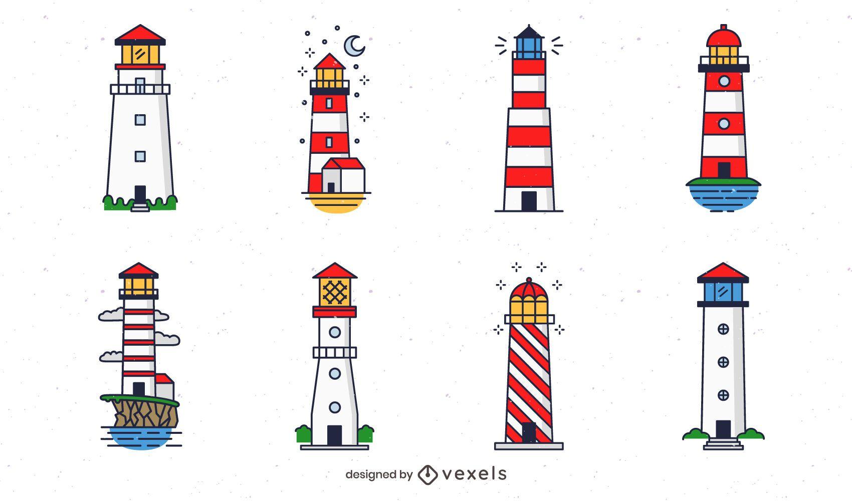 Paquete de diseño de faro de colores