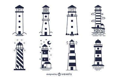 Monochromes Leuchtturm-Designpaket