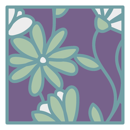 Daisy floral coaster square flat