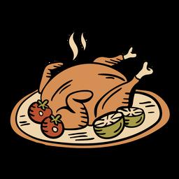 Dibujado a mano pavo al horno de acción de gracias