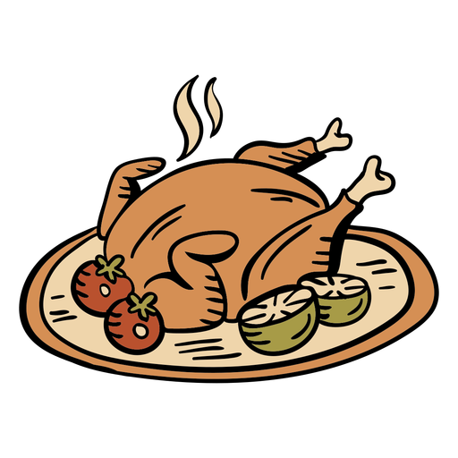 Hand drawn baked turkey thanksgiving