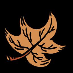 Hand drawn brown maple leaf