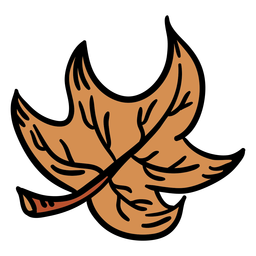 Hoja de arce marrón dibujada a mano