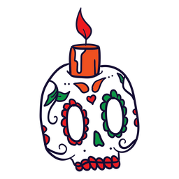 Hand drawn candle skull mexican day of dead
