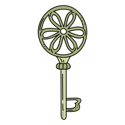Hand drawn cirlcle flower green ornate key