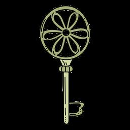 Llave adornada dibujada a mano de la flor del cirlcle verde