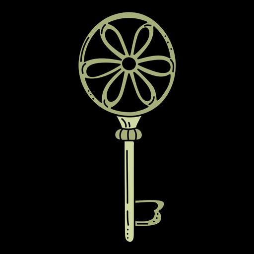 Hand drawn cirlcle flower green ornate key