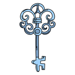 Hand drawn blue ornate key