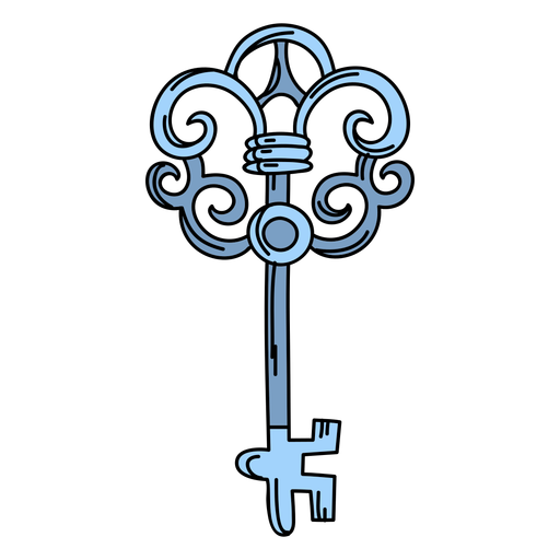 Hand drawn blue ornate key