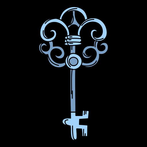 Llave adornada azul dibujada a mano