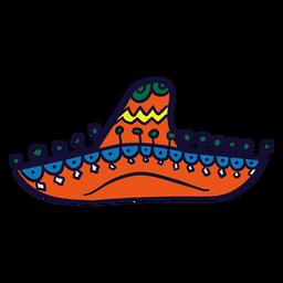 Dibujado a mano colorido sombrero mexicano