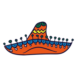 Hand drawn colorful sombrero mexican