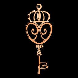 Llave adornada corona naranja dibujada a mano