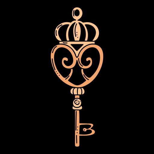 Hand drawn crown orange ornate key