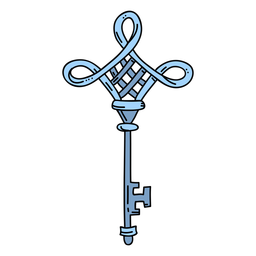 Hand drawn diamond blue ornate key