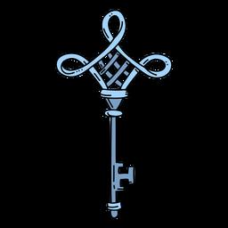 Llave adornada con diamantes azules dibujados a mano