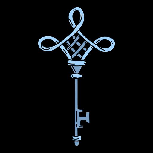 Hand drawn diamond blue ornate key