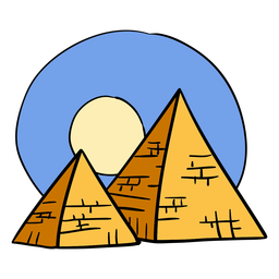 Hand drawn egypt pyramid sunset symbol