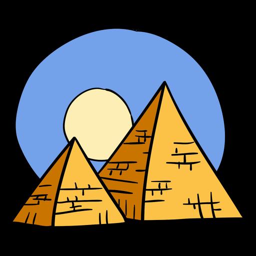 Dibujado a mano pirámide de egipto símbolo del atardecer
