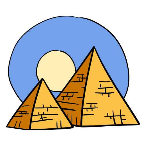 Hand drawn egypt pyramid sunset symbol
