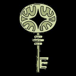 Chave ornamentada mão desenhada elipse verde