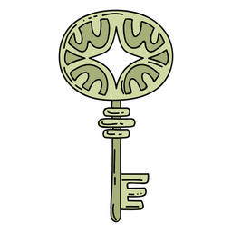 Hand drawn ellipse green ornate key