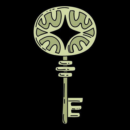 Hand drawn ellipse green ornate key