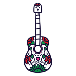 Hand drawn floral guitar mexican