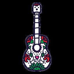 Mão desenhada floral guitarra mexicana
